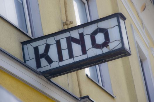 a Kino (cinema) sign at the movie theater, entertainment industry
