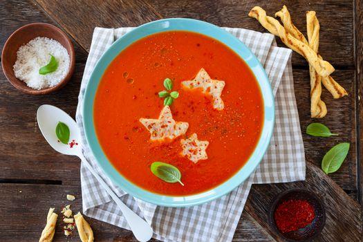 Tomato soup with parmesan stars