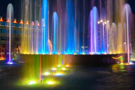 Fragment of a beautiful multi-colored fountain installed near the administration building of the city of the Anapa resort