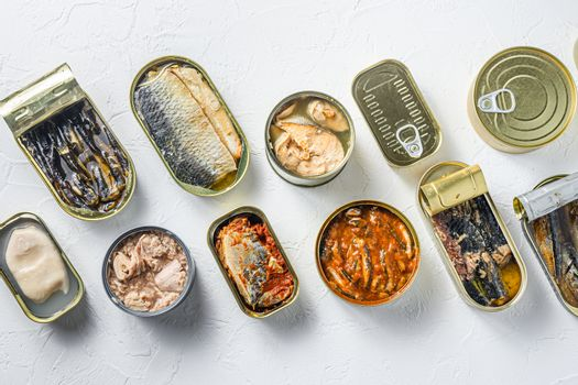 Cans with different preserve of fish and conserve seafood, opened and closed cans with Saury, mackerel, sprats, sardines, pilchard, squid, tuna, over white stone surface top view