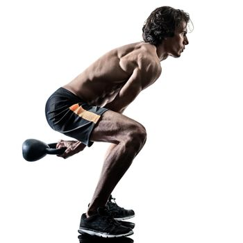 man fitness weitghs training exercises isolated silhouette
