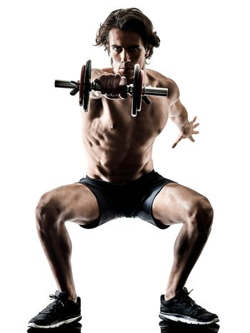 man fitness weitghs training exercises isolated silhouette white