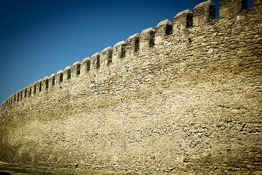 Old fortress wall in an ancient medieval castle
