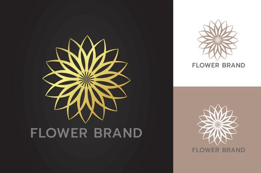 Glittering golden flowers luxury restaurant spa hotel business branding with flat style isolated background