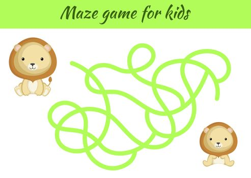 Funny maze or labyrinth game for kids. Help father find path to baby. Education developing worksheet. Activity page. Cartoon lion characters. Riddle for preschool. Color vector stock illustration.