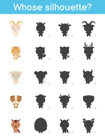 Whose silhouette game template. Matching game for children with domestic cartoon animals. Kids activity page. Education developing worksheet. Logical thinking training. Vector stock illustration.