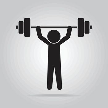 Man lifting weight icon, symbol vector illustration