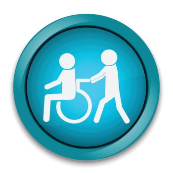 Disabled icon, Disabled button , a man pushing wheelchair of man patient illustration