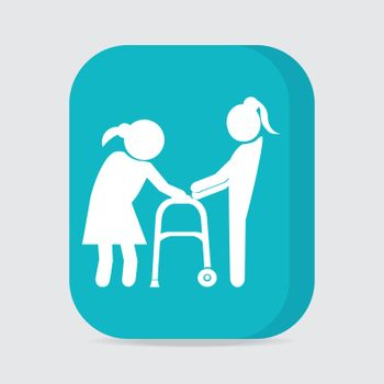 Woman helps elderly woman patient with a walker, button vector illustration