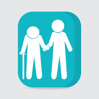 Man helps elderly patient icon, button vector illustration