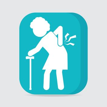 Elderly woman with stick and injury of the back pain icon, Old people sign