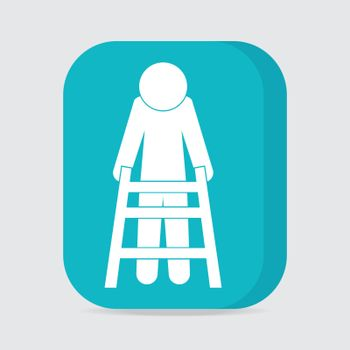 Elderly man and walker sign, icon vector illustration