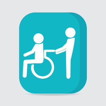 Disabled icon sign, a man pushing wheelchair of man patient illustration