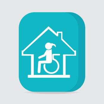 Disabled care, Nursing home sign icon