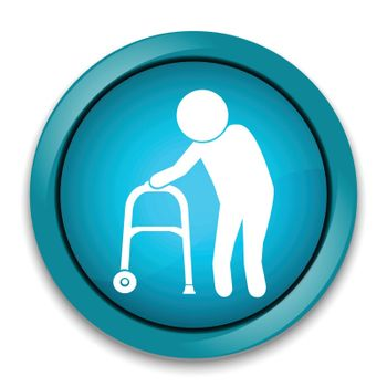 Elderly man icon. old people icon, button vector illustration