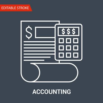 Accounting Icon. Thin Line Vector Illustration. Adjust stroke weight - Expand to any Size - Easy Change Color - Editable Stroke