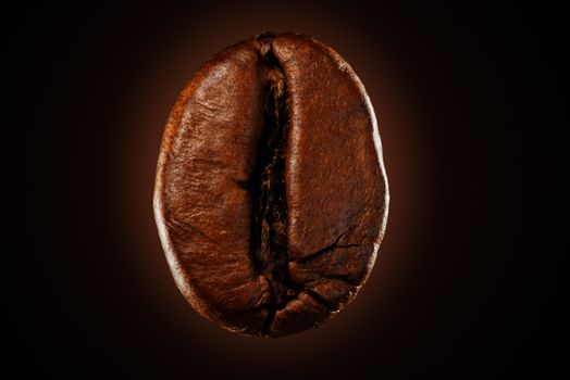 Coffee bean on a black background isolated. Roasted coffee concept