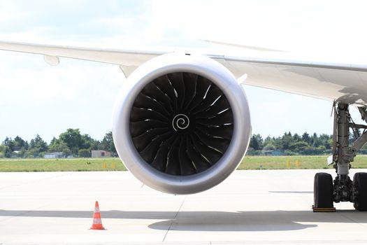 Rolls Royce Trent 1000 turbofan engine under the wing of Boeing 787-8 Dreamliner