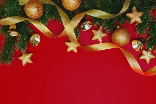 Christmas pine tree with xmas decoration on Red background
