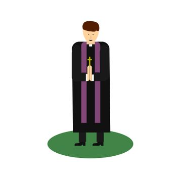 Catholic priest. Pastor reads prayer, holds cross, bible and gospel, bless parishioners. Flat cartoon illustration. Objects isolated on a white background
