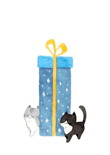 The cat is pushing the gift box. Watercolor hand painting illustration on white background. Copy space for your text. Design for greeting cards, gift cards, Christmas, New year, pet advertising.
