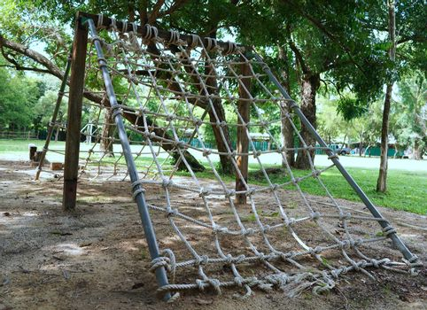 The test post of the military camp tied with a rope.