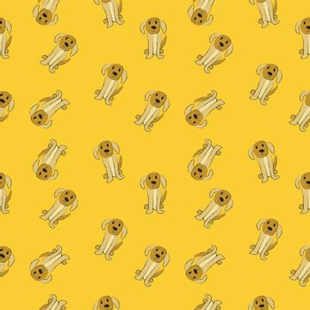 Dogs on yellow background, seamless pattern image
