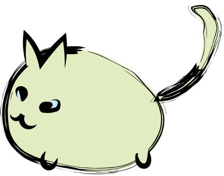 Hand drawn style of cute fat cat on white background