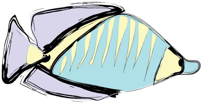 Sea fish drawing with ink on white background