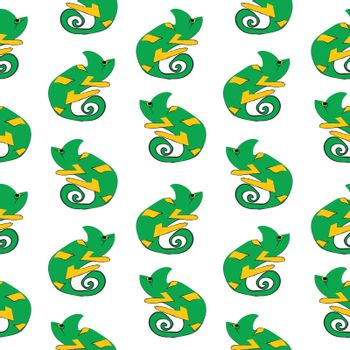 Chameleons drawing with ink on white background, vector seamless pattern background