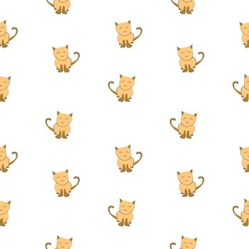 Cat drawing with ink on white background, summer seamless pattern background