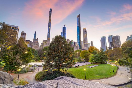 Beautiful foliage colors of New York Central Park at sunset in USA