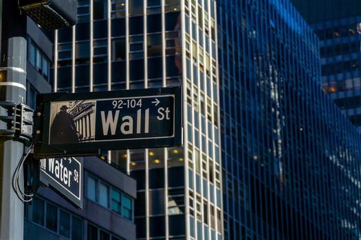 Sign for Wall Street in New York City, Manhattan, USA