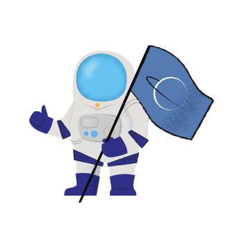 Spaceman showing flag and thumbs-up