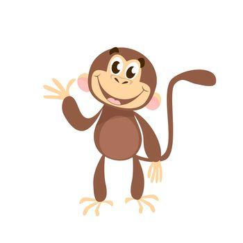 Cheerful monkey waving hand