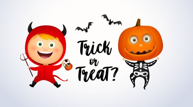 Trick or Treat lettering with kids in devil and pumpkin costumes