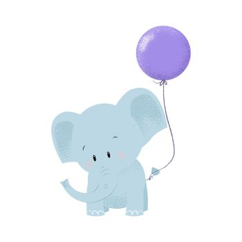Cute baby elephant with air balloon tied on tail
