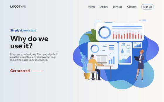 Employers analyzing infographics landing page