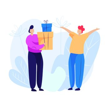 Man giving presents to man