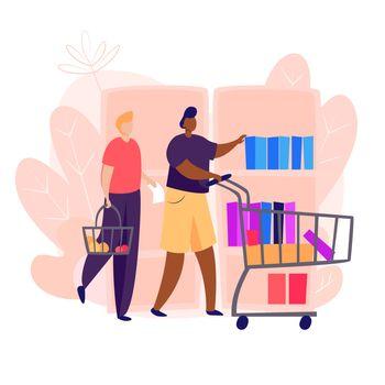 Men going food shopping
