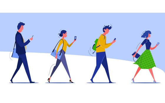 Group of walking people checking smartphones. Male and female cartoon characters going to work and texting. Vector illustration for banner, postcard, poster