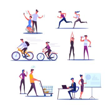 Young couple living active life. Male and female cartoon characters doing sports and business together. Vector illustration for banner, poster, leaflet