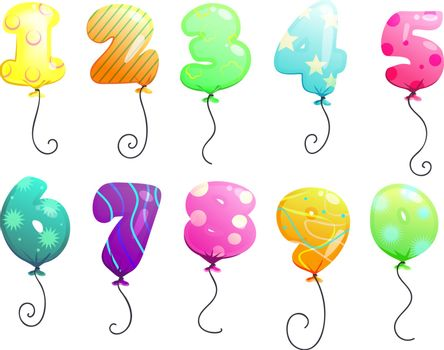 Air balloons numbers set