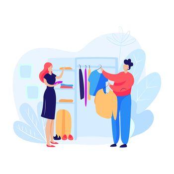 Woman and man choosing clothes