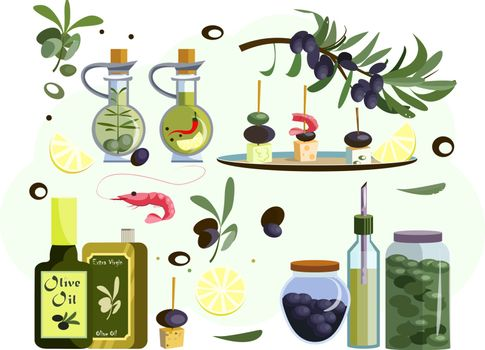 Delicacy icons set. Set of line icons. Olives, oil, shrimp. Eating concept. Illustrations can be used for topics like food advertising, delicacy, traveling