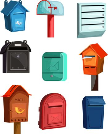 Mail boxes icons set. Flat icons on white background. Wood, red, blue and green mail boxes. Post service concept. Vector illustration can be used for topics like household, post service, mailing