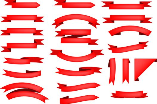 Set of red ribbon scrolls. Frame, celebration, promotion. Can be used for topics like background, collection, advertising