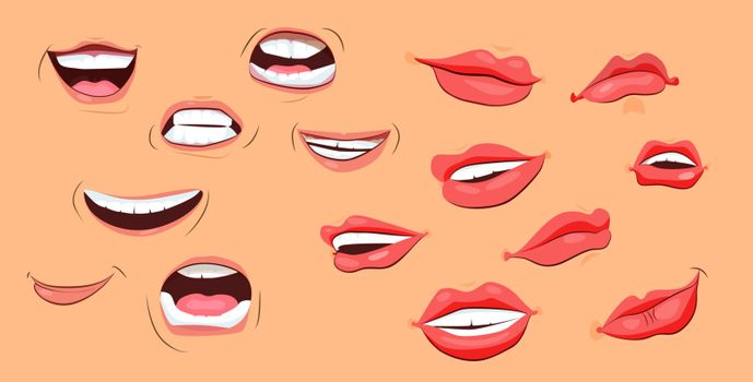 Smiles and lips icons set. Flat icons on beige background. Lips, teeth, smile. Human face concept. Vector illustration can be used for topics like psychology, anatomy, emotions