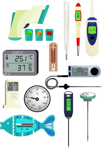 Thermometer icon set. Set of line icons. Temperature, air pressure, humidity. Illustrations can be used for topics like health, weather,  temperature measurement