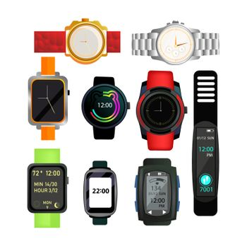 Digital and automatic watches set. Collection for fashion accessory. Can be used for topics like time, gift, deadline